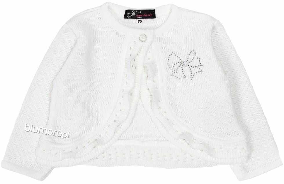 Miłe sweterkowe bolerko z długim rękawem 56 - 104 Ilonka biel