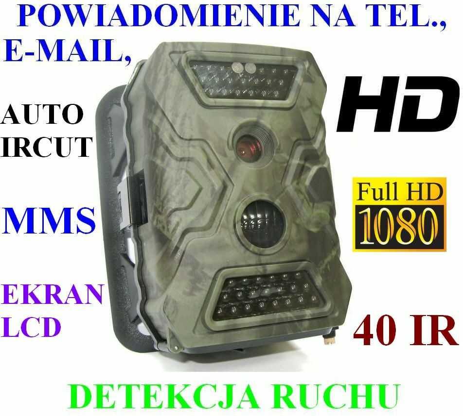 Kamera FULL HD (Foto-Pułapka) Dz.-Nocna + Zapis + Powiadomienie o Wejściu MMS/E-MAIL + Ekran LCD..