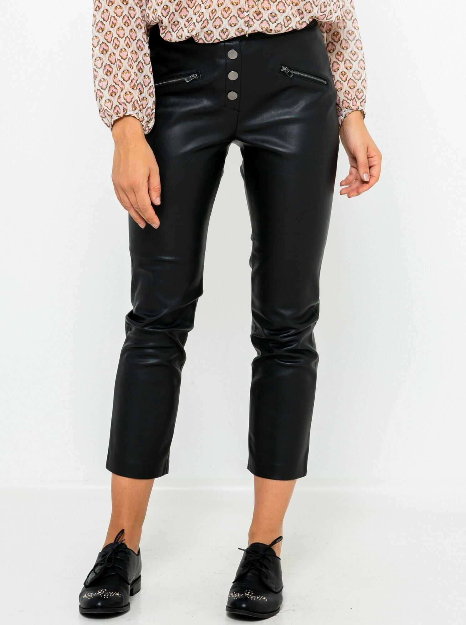 CAMAIEU czarny skrócone ze skóry ekologicznej spodnie