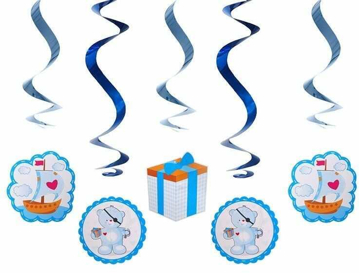 Świderki urodzinowe Misie niebieskie 60cm 5 sztuk SWID4