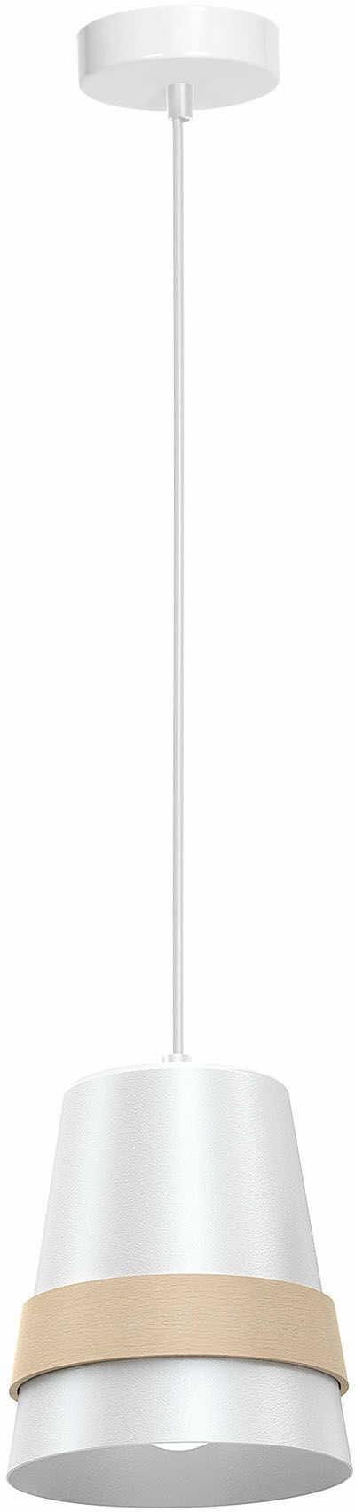 Milagro VENEZIA WHITE MLP5437 lampa wisząca nowoczesna metalowa biała z drewnem styl skandynawski 1xE27 14cm