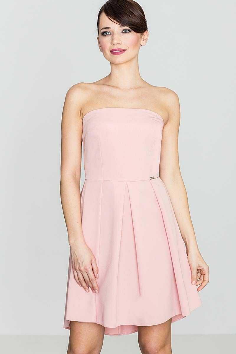 Elegancka różowa gorsetowa sukienka z dłuższym tyłem