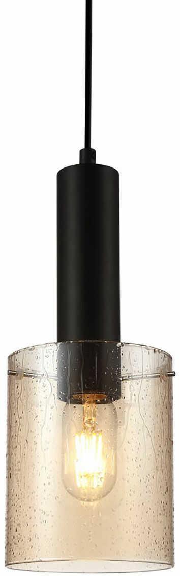 Italux Sardo Rain PND-5581-1-BK+RNAMB lampa wisząca nowoczesna stalowa czarny klosz szkło bursztynowy mokry IP20 E27 1x40W 13cm