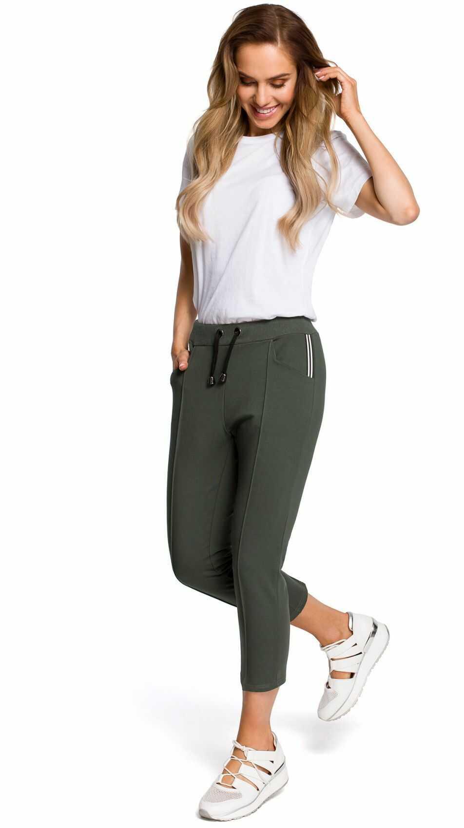 M411 Spodnie długości 7/8 dresowe - khaki