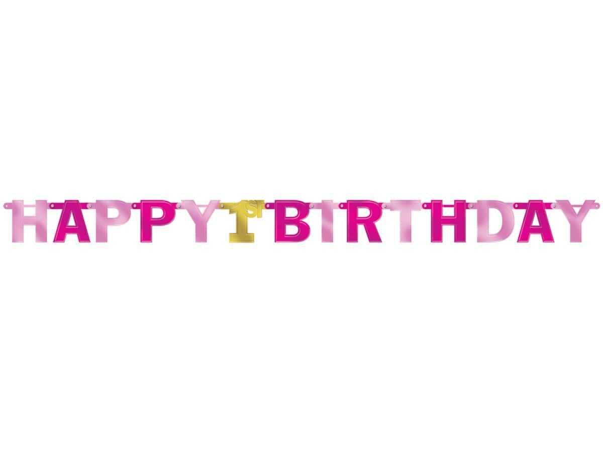 Baner różowy na roczek 1 urodziny - 213 cm