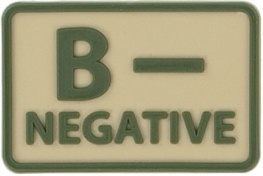Emblemat grupa krwi B Rh- Khaki - 2 szt. (OD-BLP-RB-13 B/RH-)