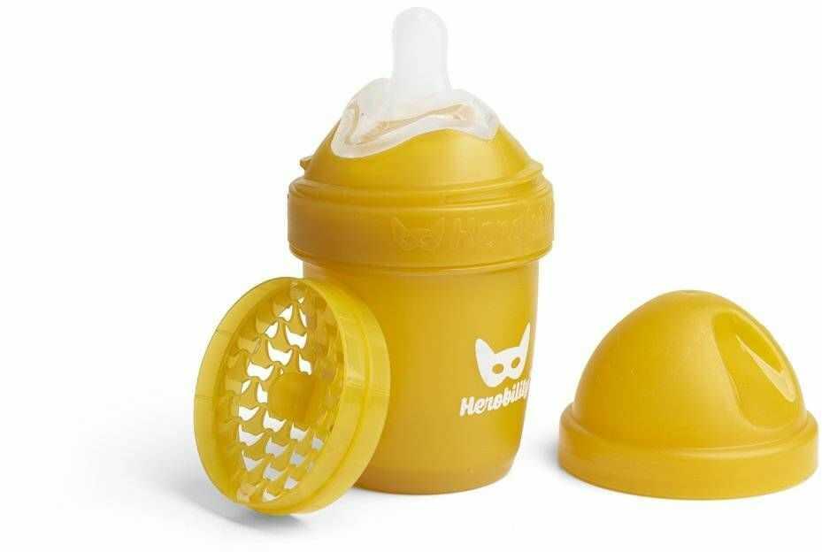 Herobility - butelka antykolkowa HeroBottle 140 ml, musztardowa + smoczek S (0 m+)