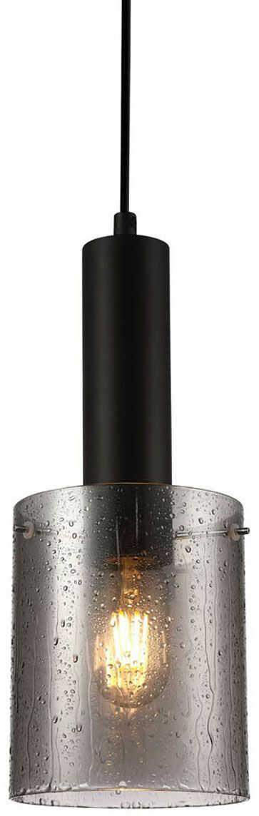 Italux Sardo Rain PND-5581-1-BK+RNSG lampa wisząca nowoczesna stalowa czarny klosz szkło dymiony mokry IP20 E27 1x40W 13cm