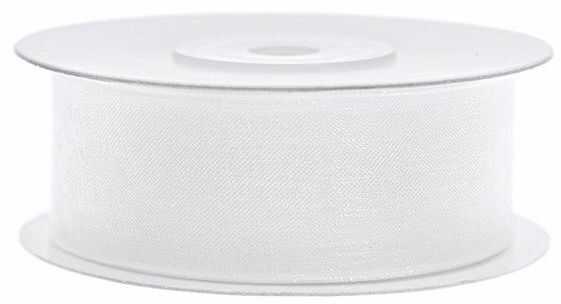 Tasiemka szyfonowa 25mm biała TSZF25-008