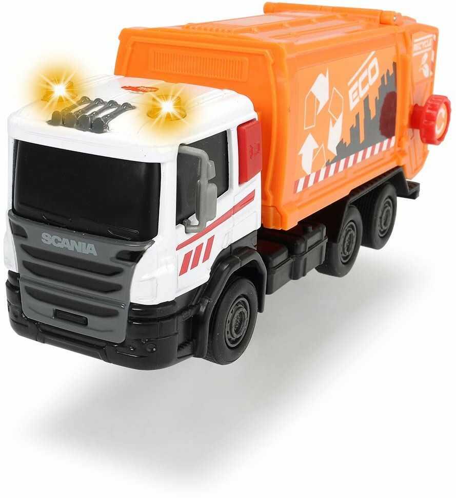 Dickie Toys 203742011 Scania City Team, samochód na śmieci, wózek na śmieci, samochód ciężarowy, odprowadzanie śmieci dla dzieci, 17 cm, 3-rodzajowy, wielokolorowy