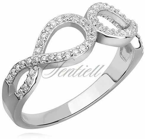 Srebrny pierścionek pr.925 cyrkonia biała - nieskończoność