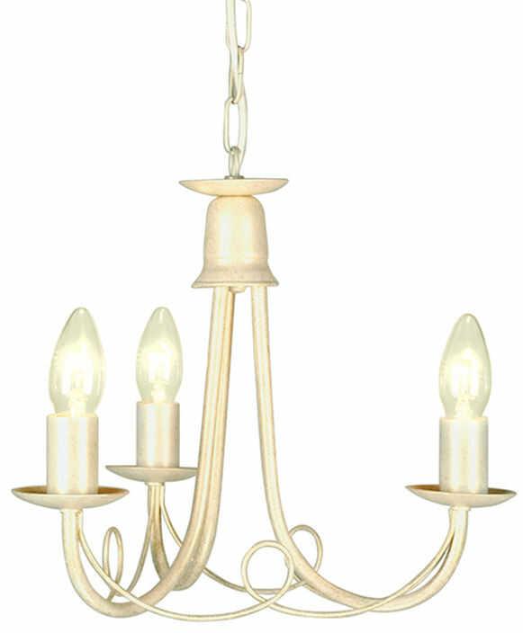 Lampa wiszaca Minster MN3 IV/GLD Elstead Lighting potrójna oprawa w kolorze kości słoniowej