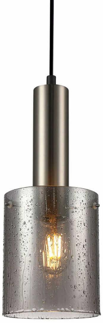 Italux Sardo Rain PND-5581-1-SC+RNSG lampa wisząca nowoczesna stalowa nikiel satynowany klosz szkło dymiony IP20 E27 1x40W 13cm