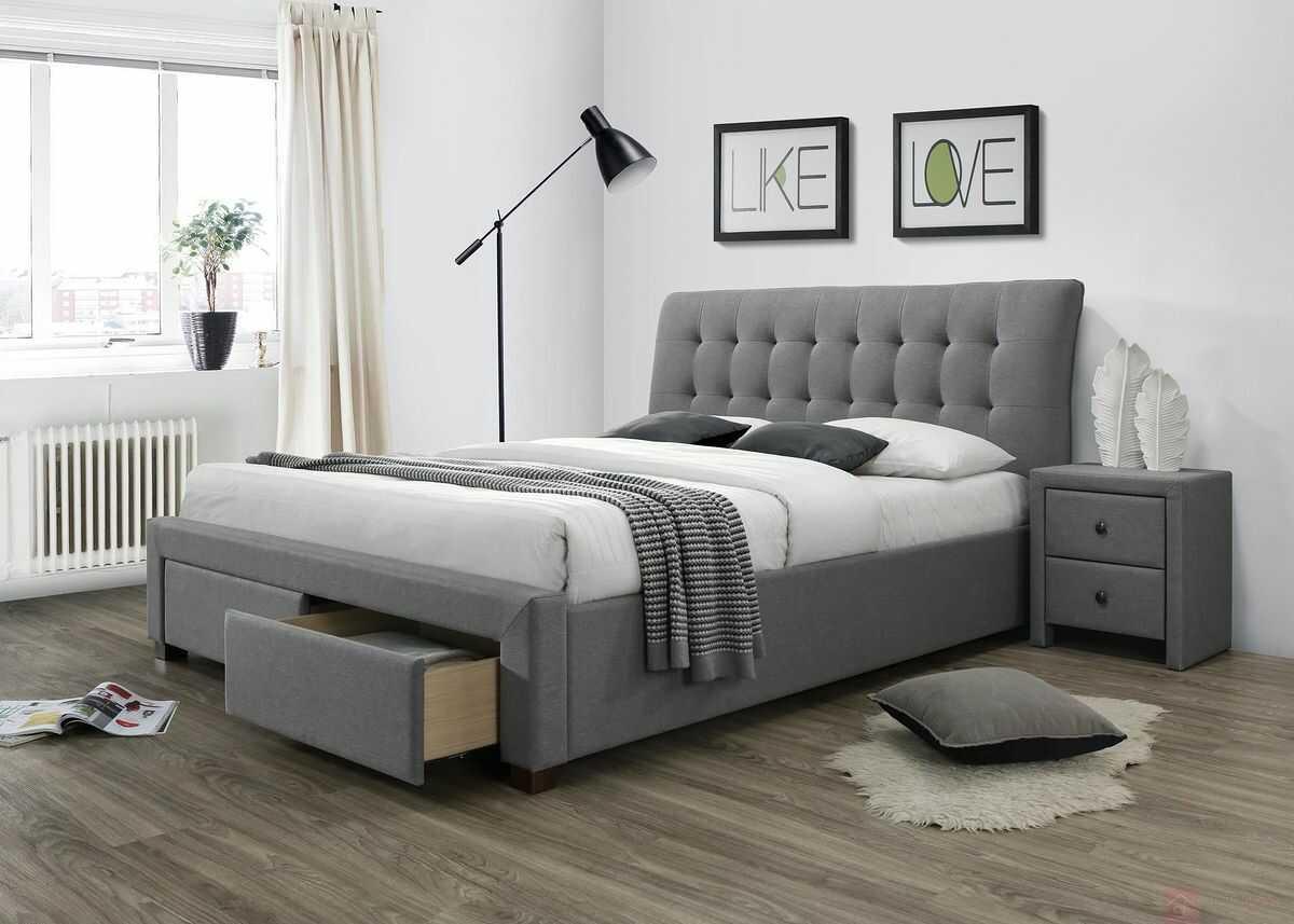 KUPON 10% NA STRONIE  Łóżko PERCY Halmar 160x200 cm, Szary