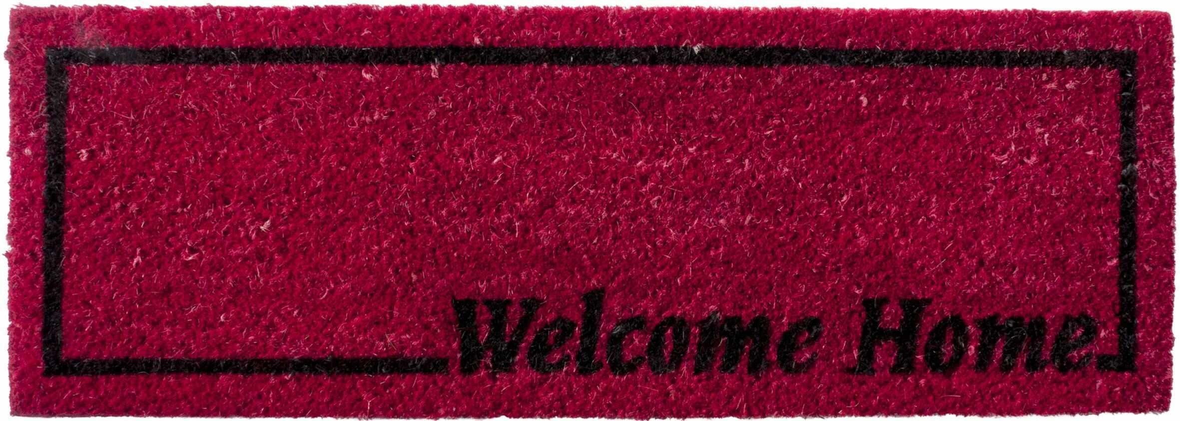 HMT 14771126 wycieraczka Welcome Home, włókno kokosowe, 26 x 75 cm, czerwona