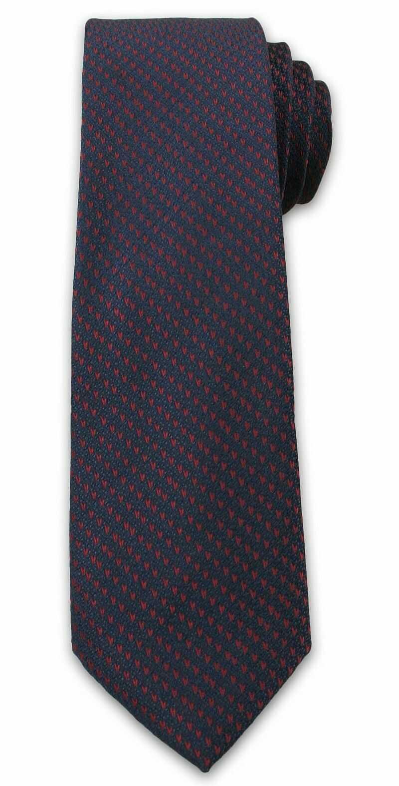 Stylowy Krawat Męski w Bordowy Rzucik - Chattier , Ciemny Granatowy KRCH0996