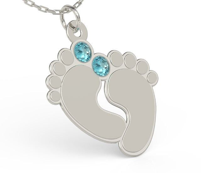 Naszyjnik z łańcuszkiem w kształcie stóp ze srebra z cyrkoniami swarovski blue - grawer gratis! - kryształy swarovski blue kryształy swarovski