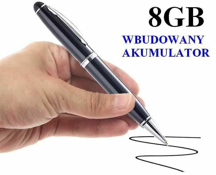 Dyktafon/Podsłuch Nagrywający Dźwięk, Ukryty w Długopisie (poj. zapisu 8GB/240h.).