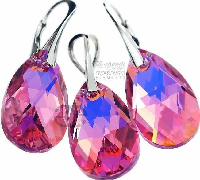 Kryształy RÓŻÓWE KOLCZYKI+WISIOREK ROSE SREBRO