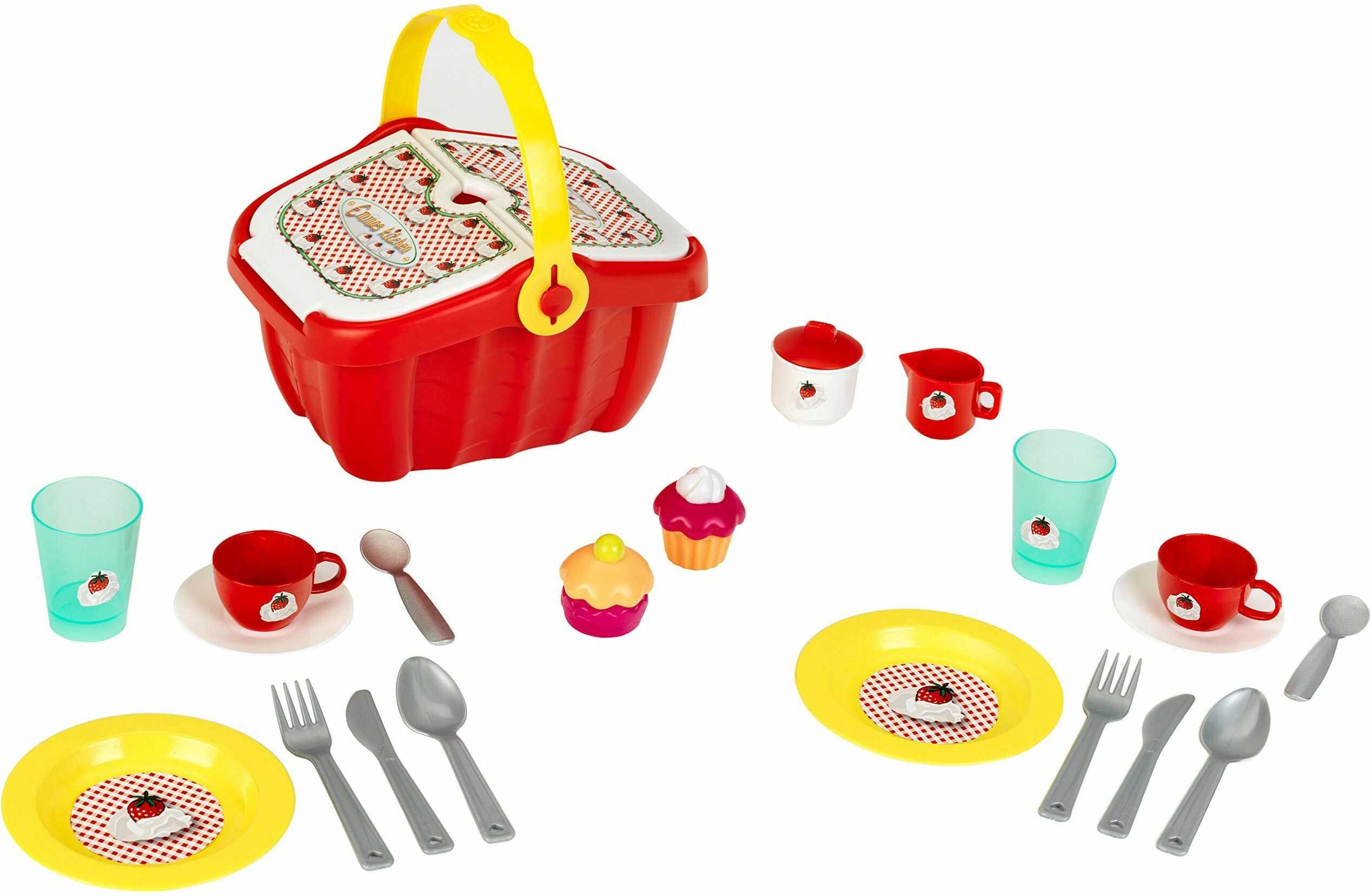 Theo Klein 9228 9228 kosz piknikowy z dużą ilością akcesoriów, zabawki, czerwony