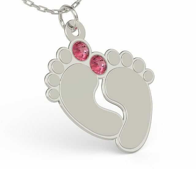 Naszyjnik z łańcuszkiem w kształcie stóp ze srebra z cyrkoniami swarovski rose - grawer gratis! - kryształy swarovski rose kryształy swarovski