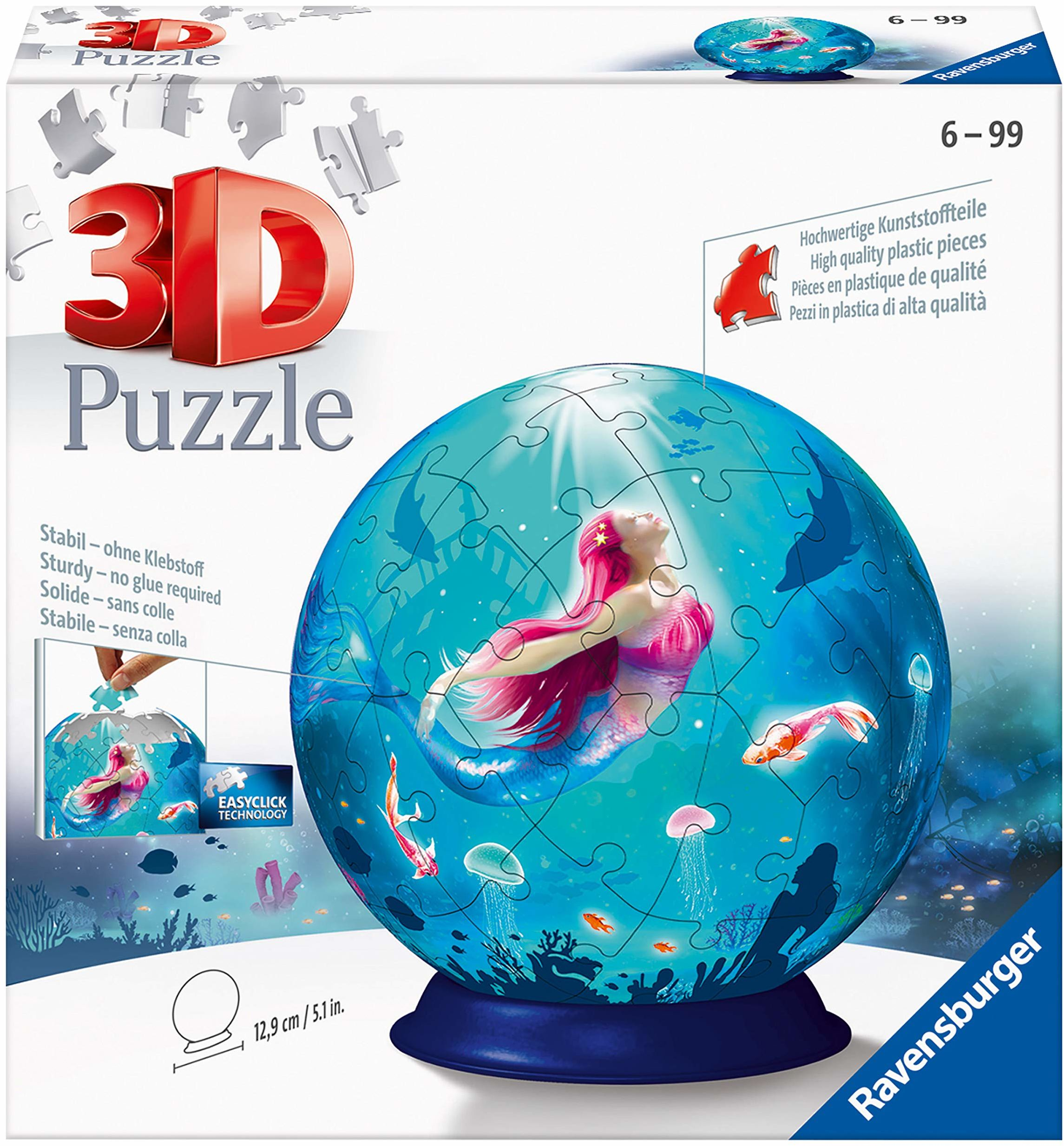 Ravensburger Puzzle 11250 kula puzzle czarująca syrenka Ravensburger 3D 11250 czarująca syrenka - 72 części od 6 lat, wielokolorowa