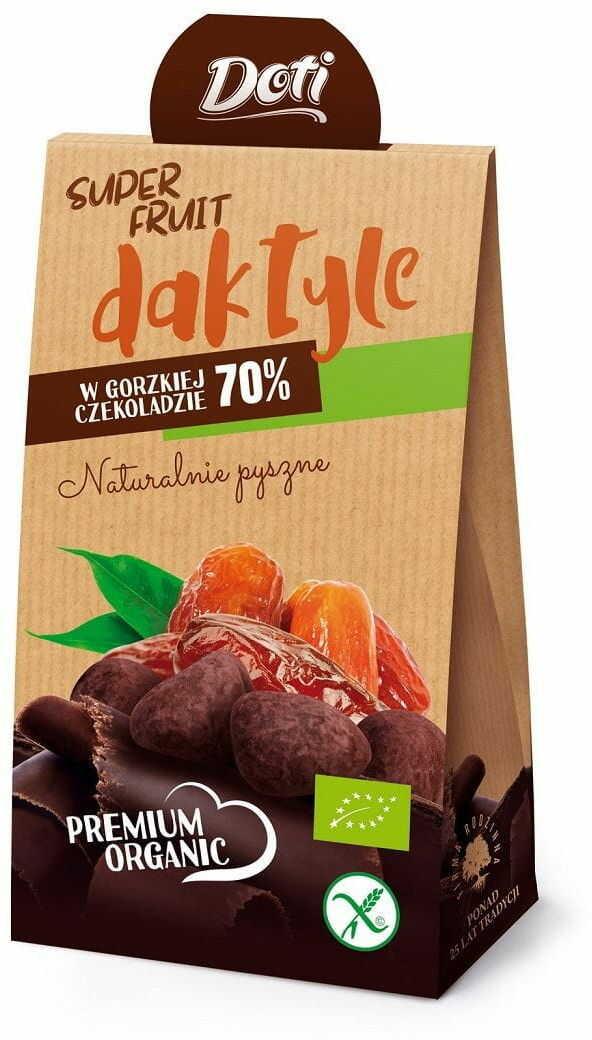 Daktyle w czekoladzie gorzkiej bezglutenowe bio 50 g - doti