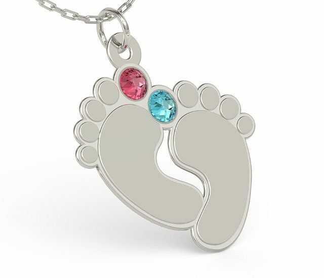 Naszyjnik z łańcuszkiem w kształcie stóp ze srebra z cyrkoniami Swarovski MIX - Grawer GRATIS! - Kryształy Swarovski mix Kryształy Swarovski