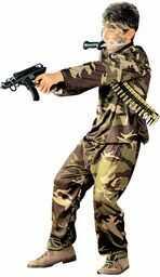 Widmann 38405 kostium dziecięcy żołnierz, chłopcy, brązowy/zielony, 116 cm