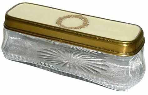 Better & Best 0225187  prostokątne pudełko ze szkła, niskie, z rysunkiem korony Laurel w białej pokrywie i złotej