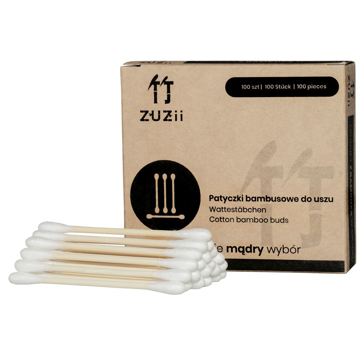 Bambusowe patyczki kosmetyczne do uszu - 100sztuk - Zuzii