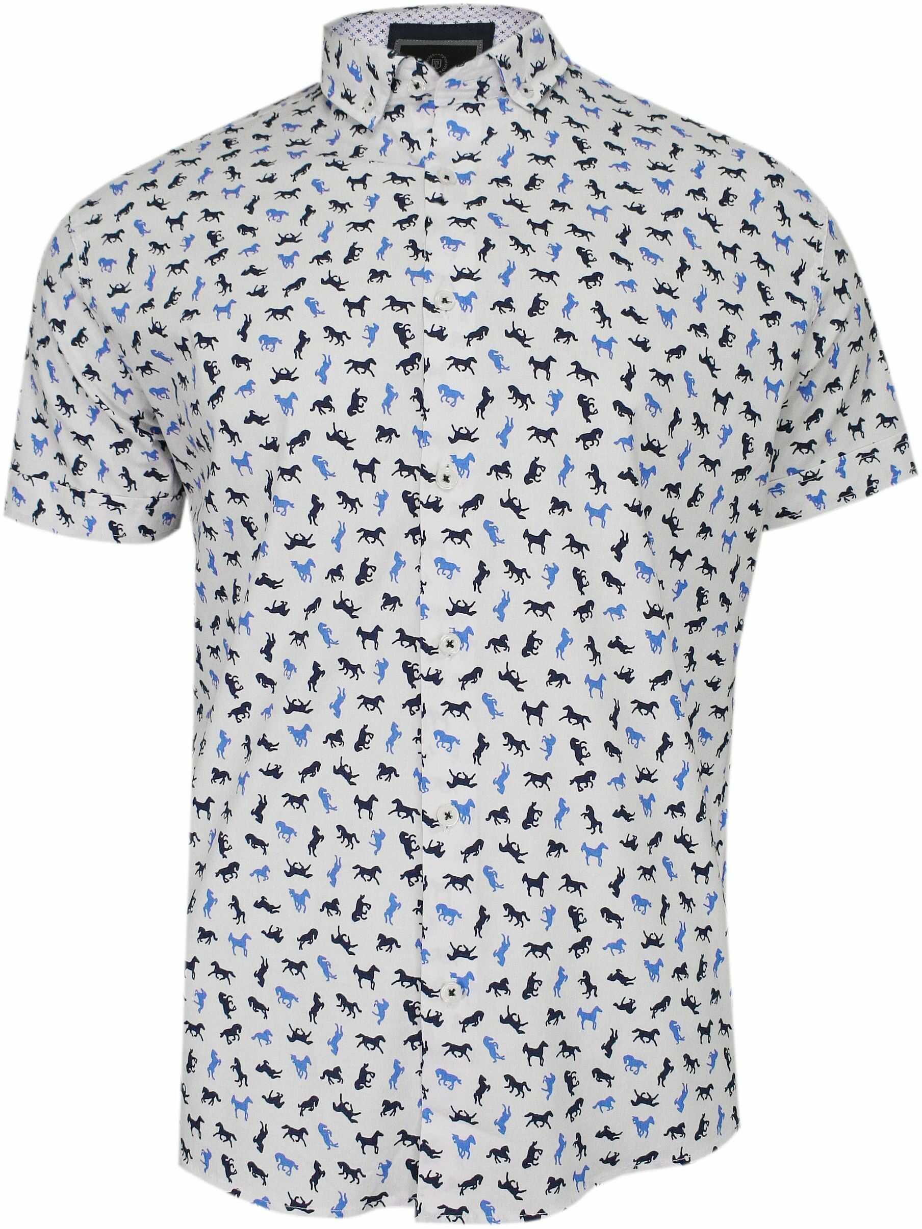 Biała Koszula Męska, Taliowana -TO-ON- Krótki Rękaw, Slim, w Granatowo-Niebieskie Konie, Zwierzęca KSKWTOONkonikbialy