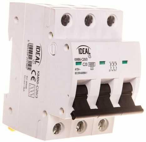 Wyłącznik nadprądowy 3P C 20A 6kA AC KMB6-C20/3 23150