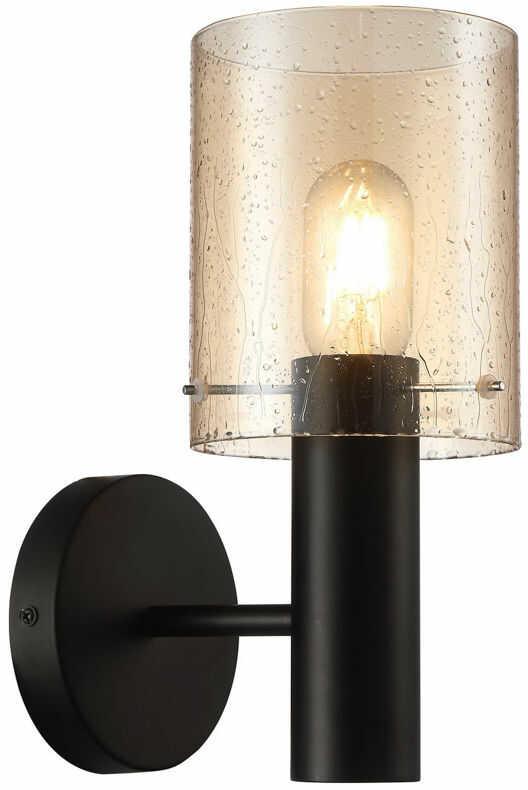 Italux Sardo Rain WL-5581-1A-BK+RNAMB kinkiet lampa ścienna stal czarny klosz szkło bursztynowy mokry IP20 E27 1x40W 29cm