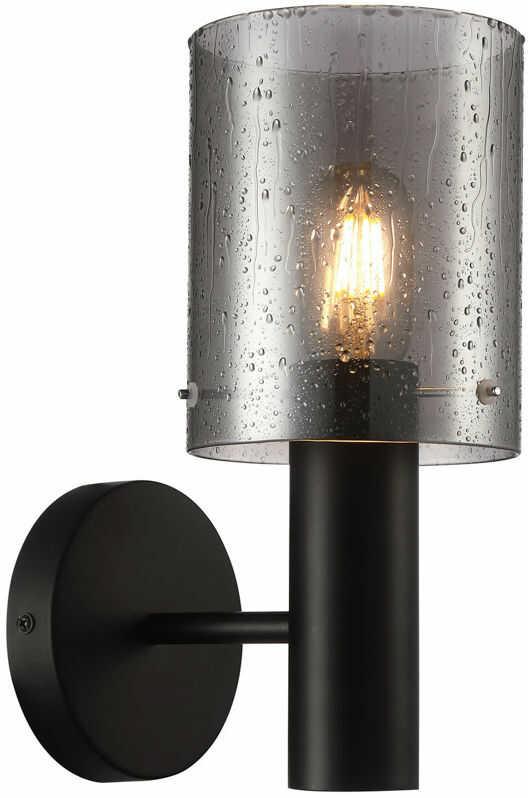 Italux Sardo Rain WL-5581-1A-BK+RNSG kinkiet lampa ścienna stal czarny klosz szkło dymiony mokry IP20 E27 1x40W 29cm