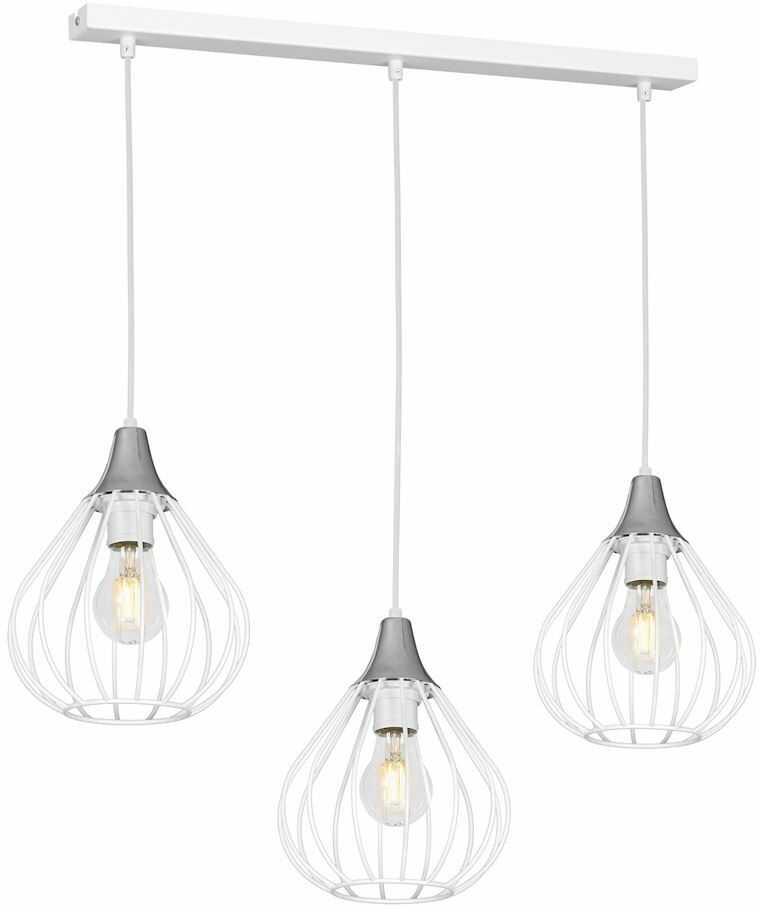 Milagro KANE WHITE MLP4800 lampa wisząca biało srebrna metal ażurowe klosze 3xE27 60cm