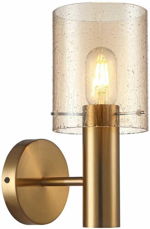 Italux Sardo Rain WL-5581-1A-BRO+RNAMB kinkiet lampa ścienna stal mosiężny klosz szkło bursztynowy mokry IP20 E27 1x40W 29cm