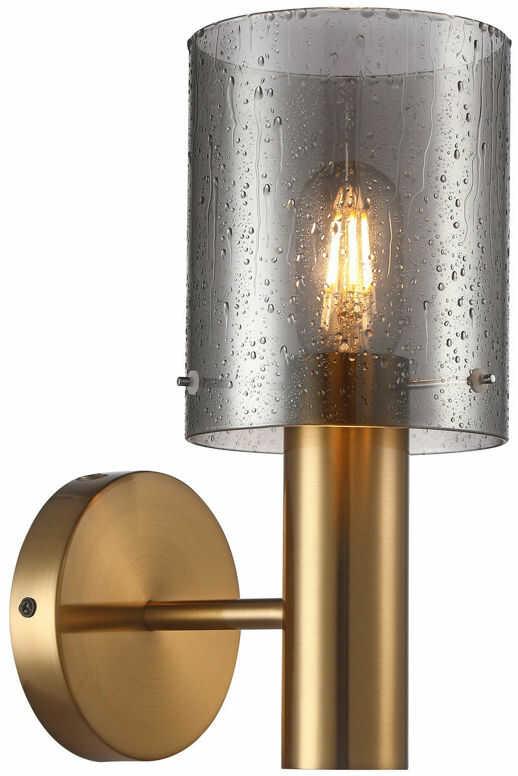 Italux Sardo Rain WL-5581-1A-BRO+RNSG kinkiet lampa ścienna stal mosiężny klosz szkło dymiony mokry IP20 E27 1x40W 29cm