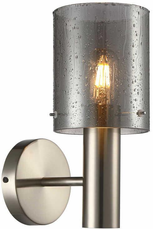 Italux Sardo Rain WL-5581-1A-SC+RNSG kinkiet lampa ścienna stal nikiel satynowany klosz szkło dymiony mokry IP20 E27 1x40W 29cm