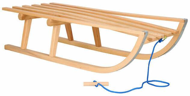 Sanki drewniane 90 cm lakierowane, klasyczne dla dzieci