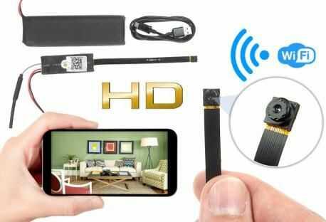 Szpiegowska Mikro-Kamera WiFi/P2P HD, do Ukrycia/Zabudowy (zasięg cały świat!) + Zapis +...