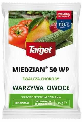Miedzian 50 wp  zwalcza choroby warzyw i owoców  15 g target