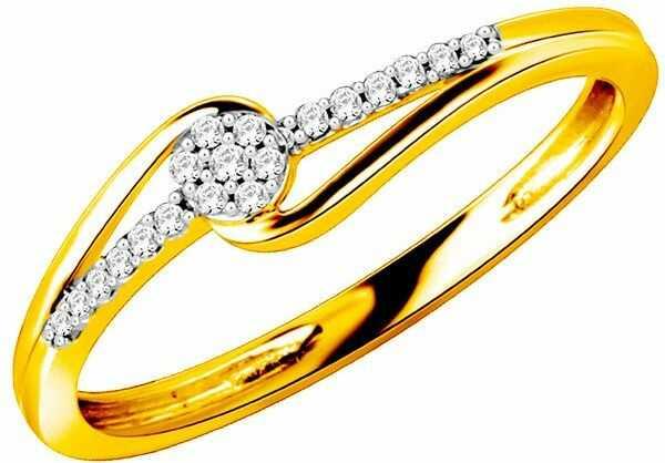 Złoty Pierścionek Zaręczynowy z Brylantami 0.10ct
