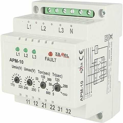 Moduł ZAMEL przekaźnik nadzorczy napięcia Montaż DIN IP20