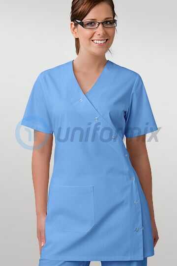 Bluza medyczna damska zapinana na napy w kolorze niebieskim r. 34