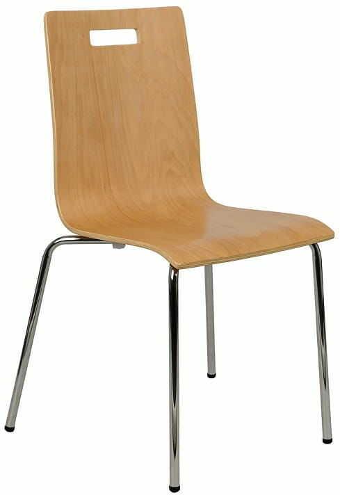 Krzesło ze sklejki, stelaż chromowany. Model TDC-132 z otworem.