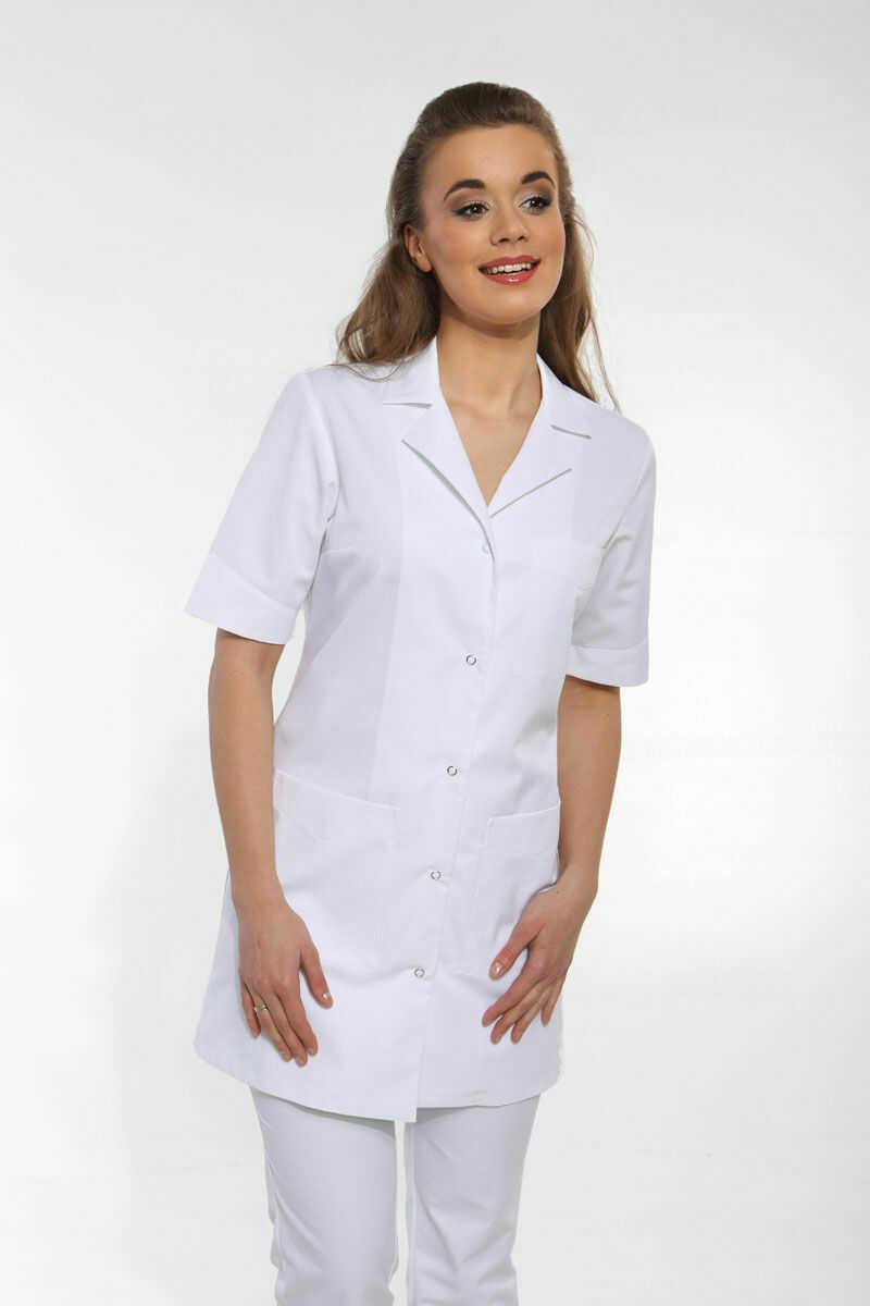 Fartuch medyczny damski w kolorze białym, krótki rękaw, r. 36
