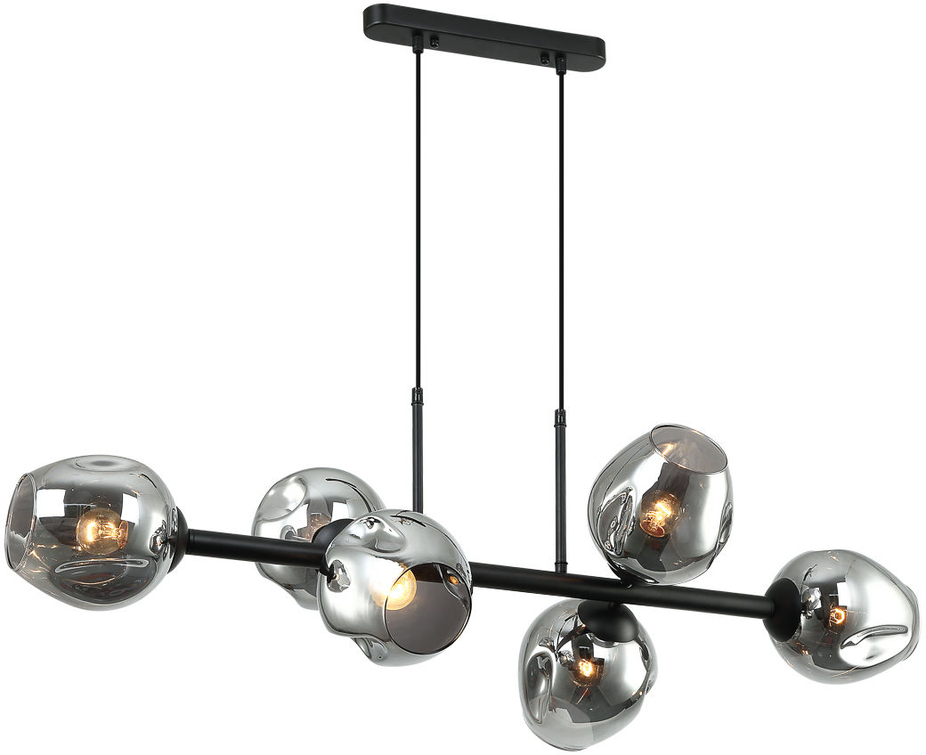 Italux Borgo PND-30843-6 BK+SG lampa wisząca nowoczesna stal czarny klosze kule dymiony szkło IP20 6x40W E27 30cm