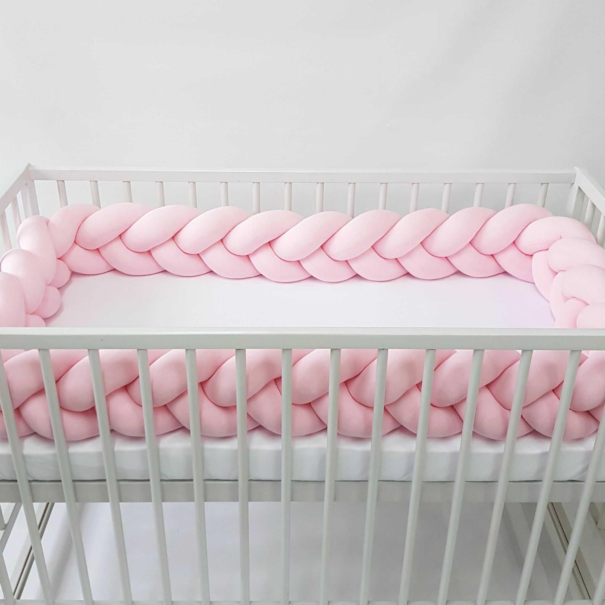 Warkocz do łóżeczka  ochraniacz warkocz pleciony różowy