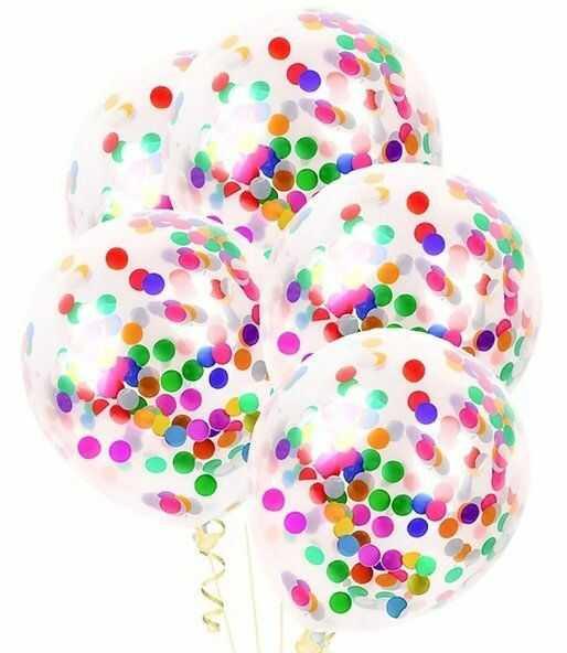 Balony przezroczyste z kolorowym konfetti 30cm 5 sztuk BAL42-5x